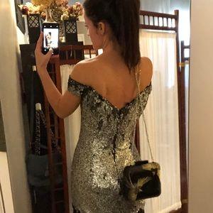 Topshop off the shoulder sequined short dress sz6